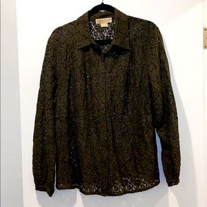 Michael Kors army green lace blouse
